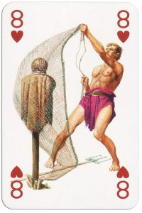 #PlayingCardsTop1000 – 8 of hearts from Gladiators deck designed by Severino Baraldi