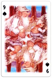 #PlayingCardsTop1000 – 9 of spades Trolls cartoons playing cards by Rolf Lidberg