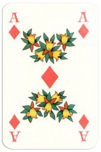 #PlayingCardsTop1000 – Ace of diamonds Patience Gracia by artist Hannelore Heise