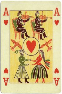#PlayingCardsTop1000 – Ace of hearts Ibusz beautiful folklore cards