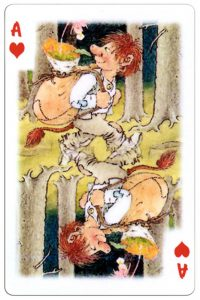 Ace of hearts Trolls cartoons playing cards by Rolf Lidberg