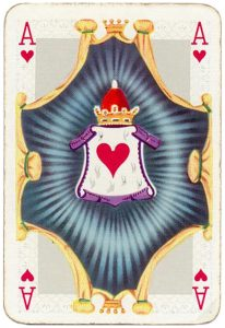 Ace of hearts intricate picture Barok playing cards by Van Genechten