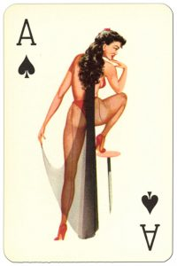 #PlayingCardsTop1000 – Ace of spades Van Genechten Glamour Girls pinup cards