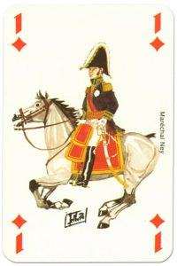 Cavalry Ace of diamonds Waterloo battle playing cards