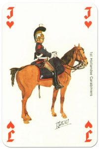 Cavalry Jack of hearts Waterloo battle playing cards