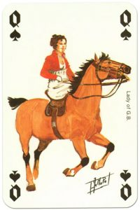 Cavalry Queen of spades Waterloo battle playing cards