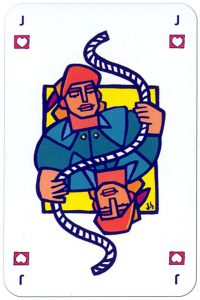 Dyneema fiber advertising cards Jack of hearts with a rope