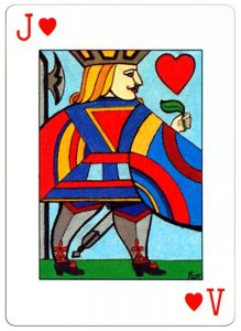 Jack of hearts Neo Classic playing cards by artist Erna Droesbeke