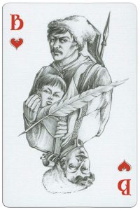 Jack of hearts playing card from Russian writer Gogol deck