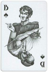 Jack of spades playing card from Russian writer Gogol deck