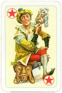 Joker with a mask playing card Altenburg Coeur Rococo Bridge