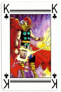 #PlayingCardsTop1000 – King of clubs Lo Scarabeo deck Marvel by artist Marco Nizzoli