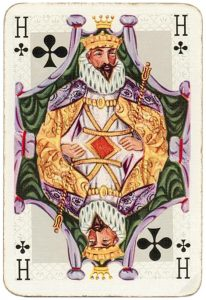 King of clubs intricate picture Barok playing cards by Van Genechten