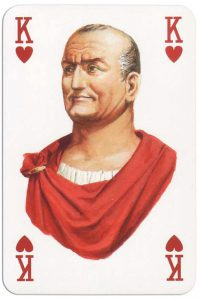 #PlayingCardsTop1000 – King of hearts from Gladiators deck designed by Severino Baraldi