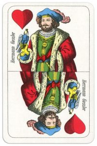 Ober of hearts Wilhelm Tell cards from Austria