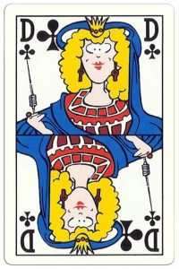 Queen of clubs Breese Auto Shop advertising cards