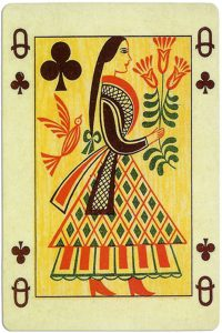 Queen of clubs Ibusz beautiful folklore cards