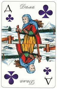 #PlayingCardsTop1000 – Queen of clubs Patience cards for fortune telling Russia
