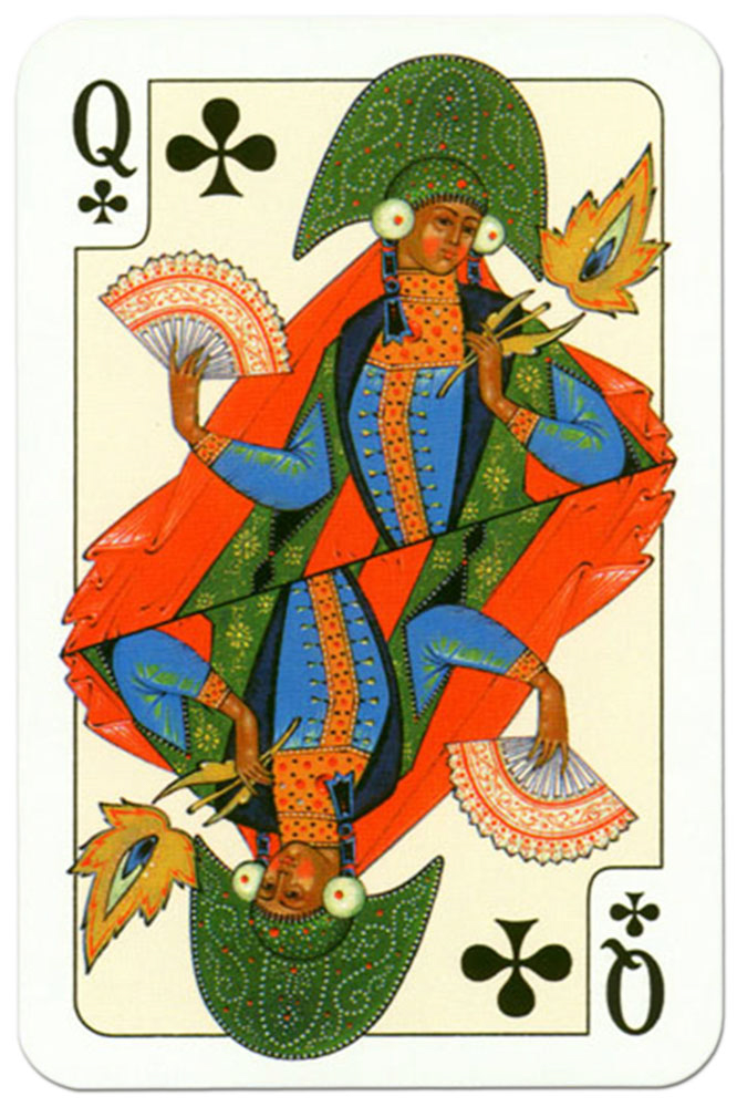 Queen of clubs Russian traditional style playing cards