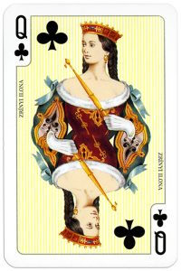 Queen of clubs Zrínyi Ilona from Budapest 1873 deck