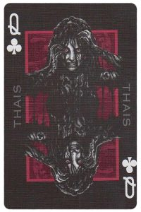 Queen of clubs card from Inferno by Gustave Dore deck Bycycle