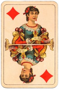 #PlayingCardsTop1000 – Queen of diamonds Balkan whist cards published in Hungary