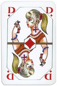 Queen of diamonds Latvian playing cards designed by Janis Metra