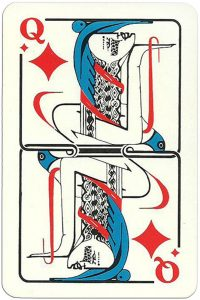 Queen of diamonds Modernist artistic style cards from Russia