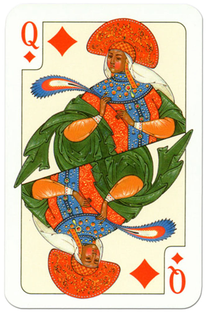 #PlayingCardsTop1000 – Queen of diamonds Russian traditional style playing cards