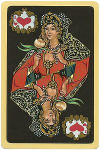 Queen of hearts Chernyi Paleh Russian style black cards