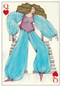 #PlayingCardsTop1000 – Queen of hearts Jeu des 4 Operas designed by Silvia Maddonni