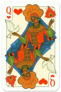 #PlayingCardsTop1000 – Queen of hearts Russian traditional style playing cards