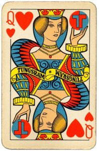 Queen of hearts Tungsram lighting company Art Deco style playing cards