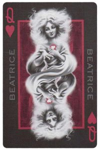 Queen of hearts card from Inferno by Gustave Dore deck Bycycle