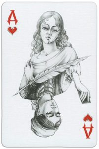 #PlayingCardsTop1000 – Queen of hearts playing card from Russian writer Gogol deck