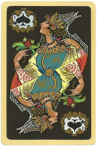 Queen of spades Chernyi Paleh Russian style black cards