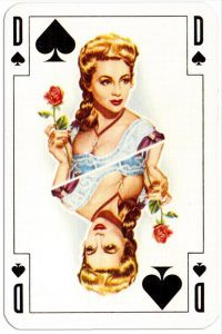#PlayingCardsTop1000 – Queen of spades Renovation playing cards designed by Jean Hoffmann