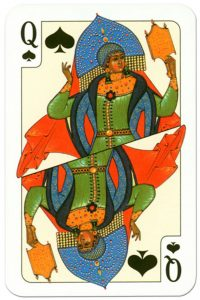 #PlayingCardsTop1000 – Queen of spades Russian traditional style playing cards