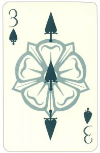Wars of roses playing card 3 of spades