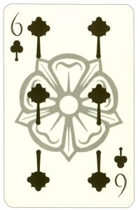 Wars of roses playing card 6 of clubs