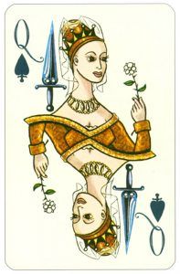 Wars of roses playing card Queen of spades