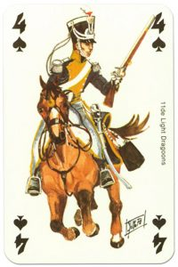 cavalry 4 of spades Waterloo battle playing cards