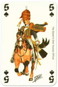 cavalry 5 of spades Waterloo battle playing cards