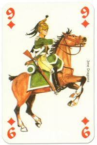 #PlayingCardsTop1000 – cavalry 9 of diamonds Waterloo battle playing cards