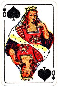 Bornespillekort Denmark Queen of spades