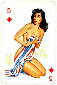 Dandy Pin up Bubble Gum advertisement cards 1956 Five of diamonds 10