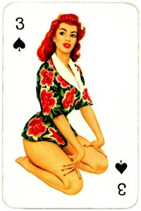 Dandy Pin up Bubble Gum advertisement cards 1956 Three of spades 12