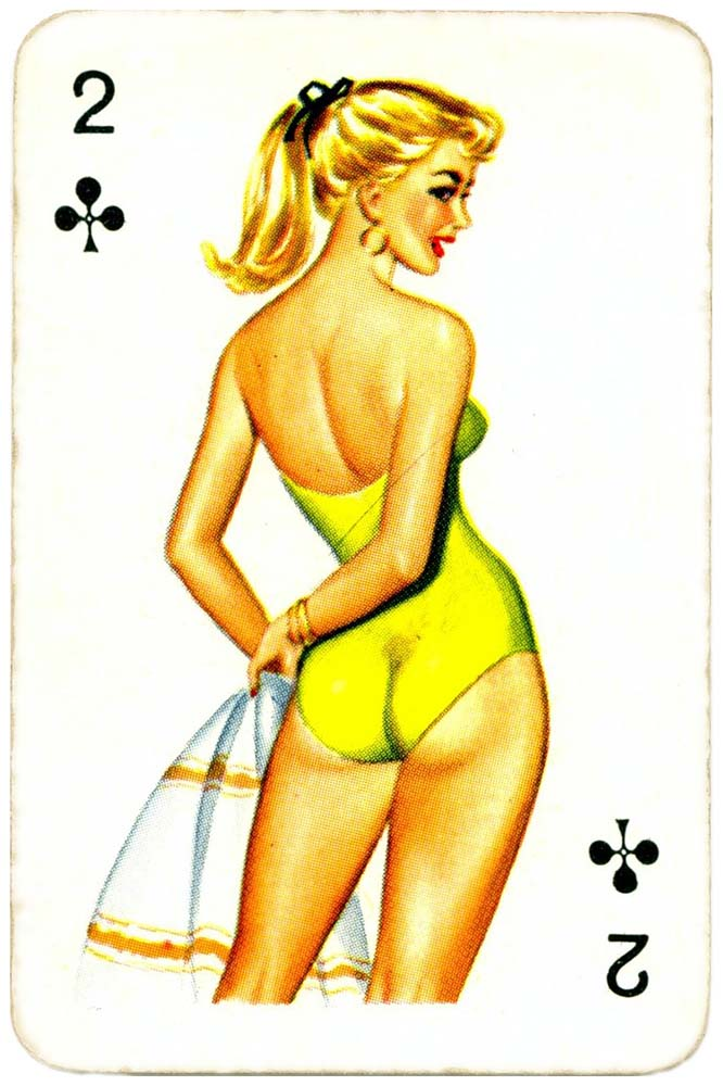 Dandy Pin up Bubble Gum advertisement cards 1956 Two of clubs 13