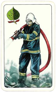 Hasičské Fire fighters cards from Czechia King of spades 07