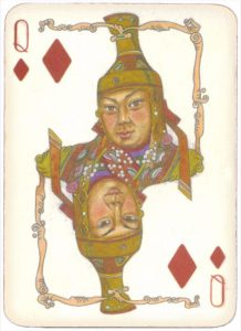 Mongolian National Economical Bank lovely graphic design Queen of diamonds 13